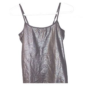 Metallic spaghetti strap tank with shelf bra